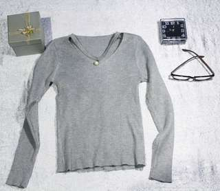 Top knitted-grey