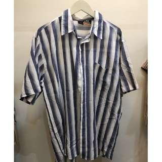 🚚 [Blue fur seal]  藍色條紋亞麻長板襯衫 二手古著  台北可面交