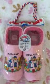 荷蘭粉紅色木屐型毛毛拖鞋 全新