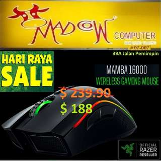 "Razer Mamba 16000 - Wireless Multi-color Ergonomic Gaming Mouse - AP Packaging ( Offer Sales )""Hurry Grab it by Tonite....while Stock Last.."""