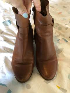 Tan brown leather boots