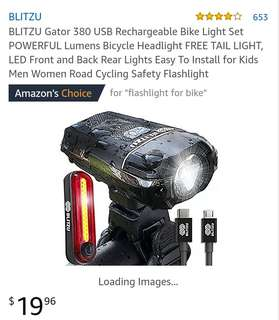Used BLITZU GATOR 380 USB rechargeable headlight