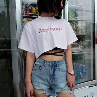 PO // I'm Better Mock Neck Crop Top // DG051