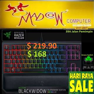 "Razer BlackWidow Tournament Edition Chroma V2 – Mechanical Gaming Keyboard - (GREEN SWITCH) ""Offer Sales.., Hurry Grab it by Tonite....while Stock Last.."""