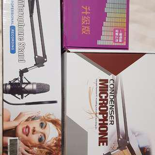 Singing ktv sound card with condenser mic for studio recording on pc / mobile phone