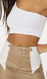 White one shoulder crop top