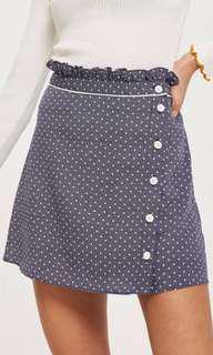 BNWT Topshop Navy Spot Ruffle Mini Skirt