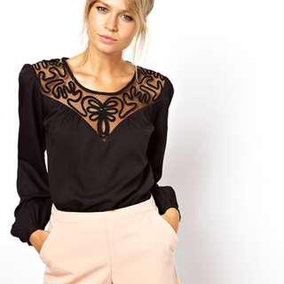 ASOS Black Long Sleeve Top with Macrame Insert Yoke and Subtle Balloon Sleeves