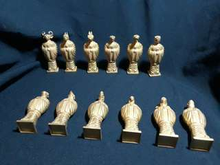 Chinese Zodia signs 12 pieces bronze body with gold color plating. Ming era products