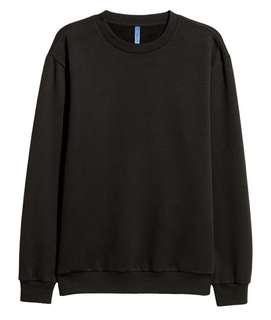 H&M Unisex Black Crewneck Sweatshirt