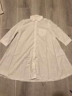 No brand white shirt 白色 七分袖 恤衫