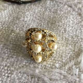18-Karat Gold Plated Ring with Pearls