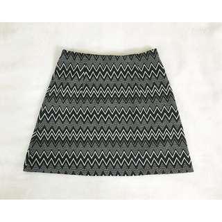 Zalora A-line Mini Skirt (black and white aztec pattern)
