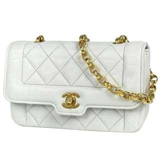 Vintage Chanel白色羊皮黛妃包Diana Bag 19x11cm