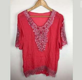 Pink lace sz L women top shirt blouse tunic boho hippy beads 3/4 sleeve loose