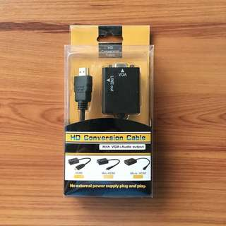 HDMI to VGA Cable + Audio HD Conversion Cable