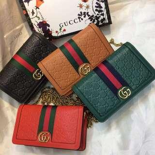 Gucci Embossed Stripe Sling