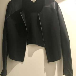 Witchery Jacket With Leather Sleeves