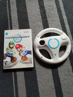 Preloved wii game Mario Kart with 1 wheel