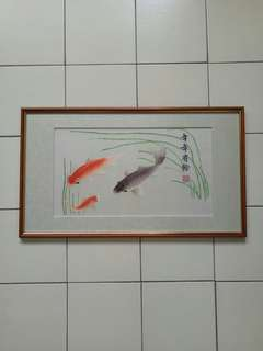 Vintage Embroidery Three Carps Fish Size 60x35cm Perfect Condition