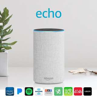 [Great Singapore Sale] Amazon Echo (2nd generation) - Smart speaker with Alexa - Sandstone Fabric comes with ONE-Year Warranty and SAME Day Delivery at S$128!