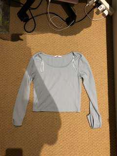 Blue long sleeve crop top