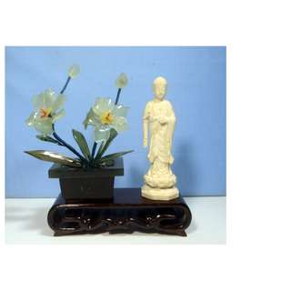 Vintage hand carved jade stone flower marble pot stand statue Zen decoration