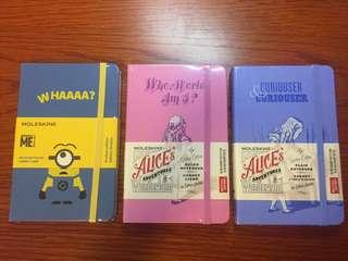 Moleskine Notebooks Limited Edition (Minions & Alice in Wonderland)