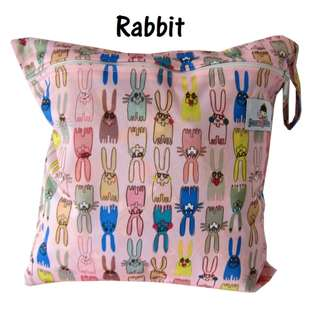 Multipurpose Single Zip with snap button Wetbag ~ Rabbit