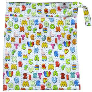 Multipurpose Large Single Zip with snap button Wetbag ~ Alphabets