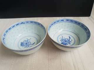 White and blue bowl