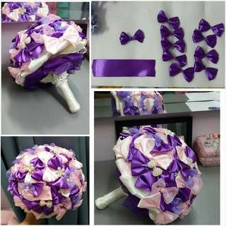 Ribbon hand bouquet purple and sweet pink