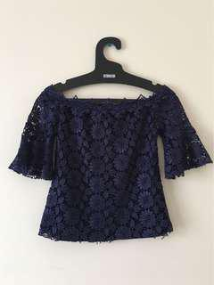 [THE REFORMATION] Floral Lace Navy Blue Off-Shoulder Top XS NWOT