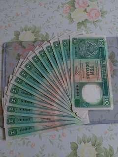 92年滙豐10元,14張連號,靚號,unc(紙邊有小微黃)。