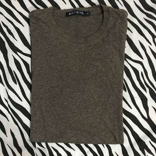 Societe id brown two tone tee tshirt size l