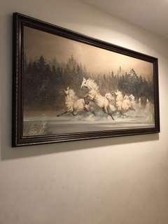 An Framed Oil horse Paintng-132x70cm