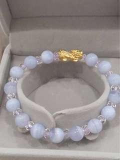 🚚 999純金貔貅招財手鍊-藍紋石+白水晶(女款)