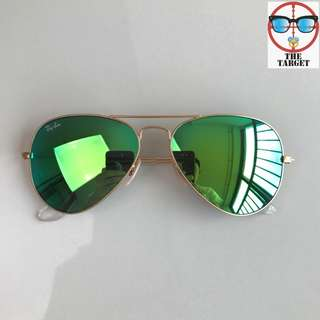 ray ban aviator flash lenses rb3025 58mm / 62mm size brand new full packages original polarized $900  太陽眼鏡 sunglasses Green rb3025 112/19