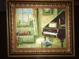 A Hand Painted On board piano oil painting