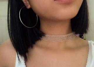 hoop earrings & laced nude choker bundle