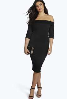 BOOHOO black off the shoulder 3/4 sleeve midi dress with ribbed fabric brand new With Tags