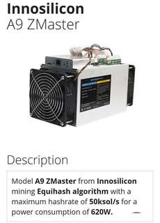 Innosilicon A9 ZMaster挖礦機連禮物S11(歡迎查詢)