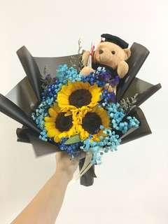 Fresh Sunflower with Blue Baby Breath in Graduation Bear