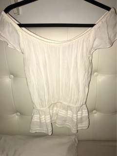 Off the Shoulder White Shirt Aritzia