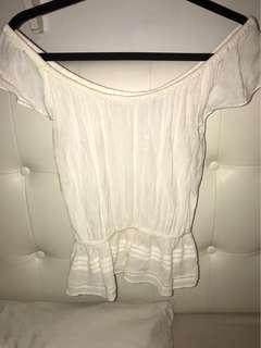 Off the Shoulder White Shirt Aritzia