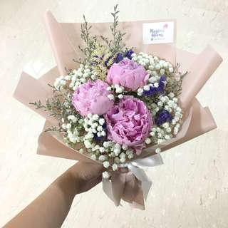 Pink Peonies with Mix Fillers / Baby Breath and Forget me not / Anniversary Bouquet