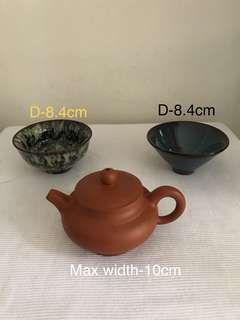 Lot Of Three Porcelain Bowl And clay Teapot-$55