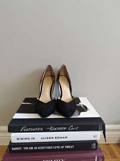 Black and patterned Marc Fisher d'orsay heels size 6
