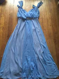 Sky Blue Long Convertible/Infinity Gown, Fits M-L