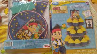 Jake and the Neverland Pirate Theme Birthday Party, Tablecover, Birthday Banner, cupcake stand, plates and cups
